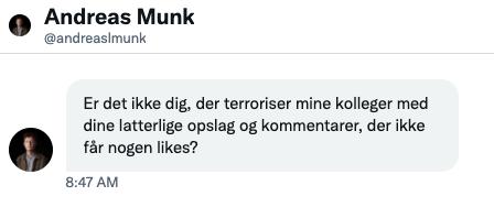 Andreas Munk: kritik er at terrorisere